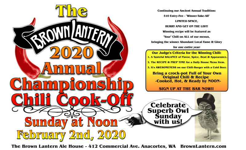 Annual Chili Cookoff, Wednesday, February 2nd, 2020 @ noon