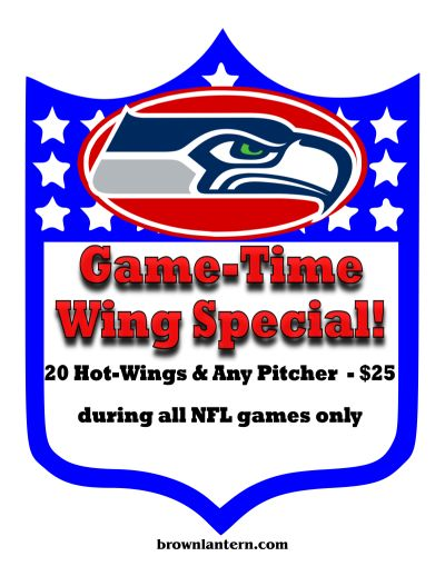 20 wings and a pitcher for $25, during Game time only
