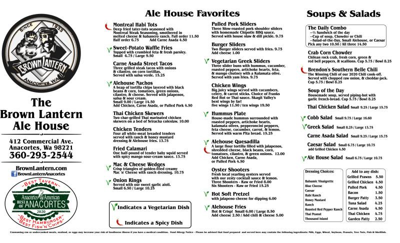 The Brown Lantern Ale House Menu